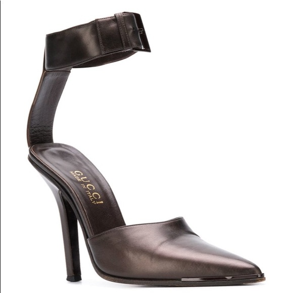 e028bbb4f Gucci Shoes | Vintage 1990s Brown Ankle Strap Heels | Poshmark